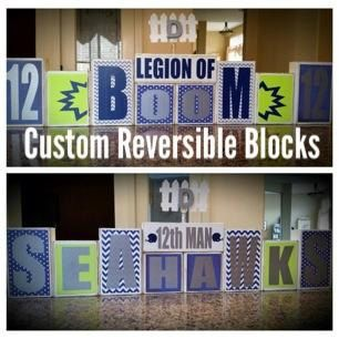 Seattle Seahawks Legion of Boom 12th Man Home Decor- Custom Reversible Wooden Block Set by BLOCKERZ on Etsy