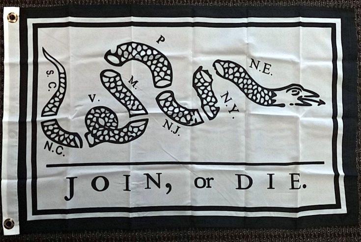 2X3 Join Or Die Benjamin Franklin Snake Flag 2'X3' House Banner Brass Grommets