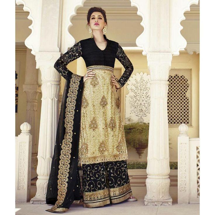 Nargis Fakhri Black and Beige Net #Plazzo Kameez With Dupatta- $140.42