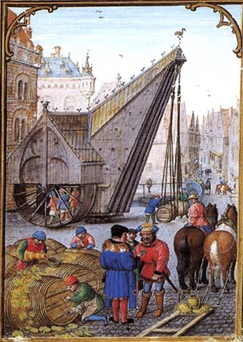 Crane in the Hanseatic city of Bruges, 1510. (Da Costa Hours by Simon Bening?)
