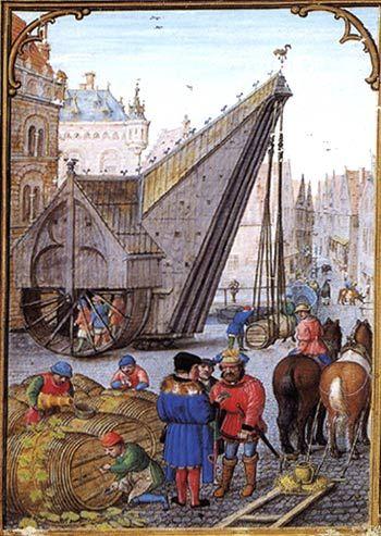 BRUGGE (Belgique) stadskraan in de Hanze-stad Brugge. Miniatuur, 1510