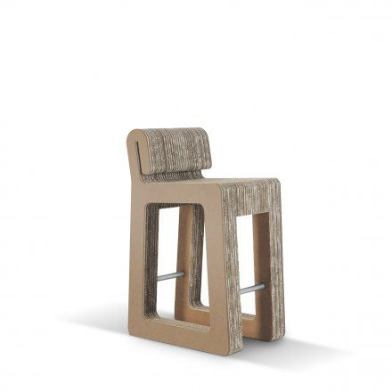 Carton Factory Seduta alta Hook Stool - profilo in mdf avana Lovepromo