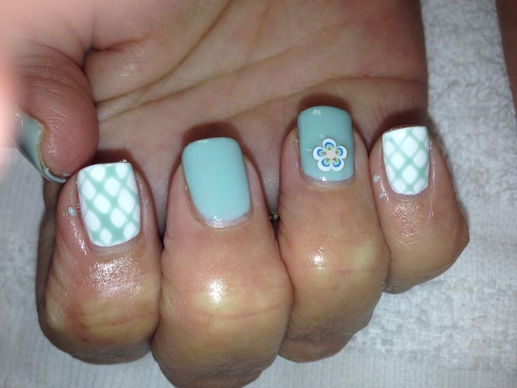 All about aqua and white shellac nail art free hand