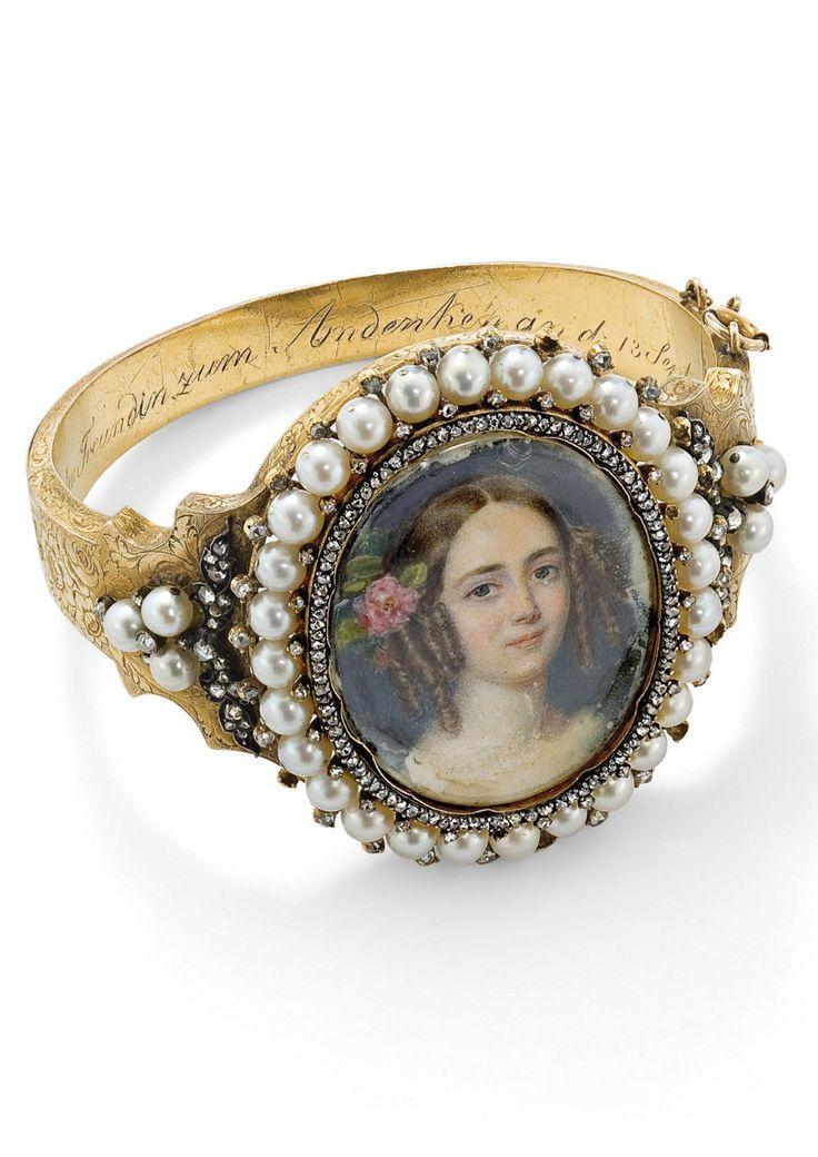 19thc pearl and diamond portrait bangle