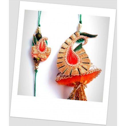 Exclusive designer pair of Rakhi and Lumba depicting the shape of Kairi (small mango)