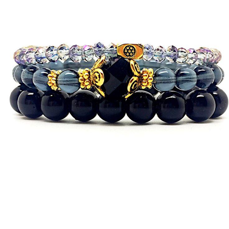 Black three set bracelet
