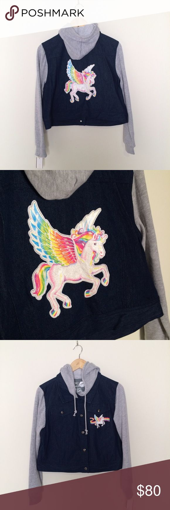 "NWT Lisa Frank Jacket Pegasus Unicorn Rainbow Jrs. Thanks for stopping by! This cute Lisa Frank jacket is brand new and could be yours! Size Large in juniors. Please refer to measurements.  Self: 100% Cotton Contrast: 60% Cotton, 40% Polyester  Made in China  Length from top of collar to bottom of hem: 17"" Pit to Pit: 21"" Shoulder to Shoulder: 16"" Sleeves: 23.5""  *Comes from a pet free and smoke free home* Lisa Frank Jackets & Coats Jean Jackets"