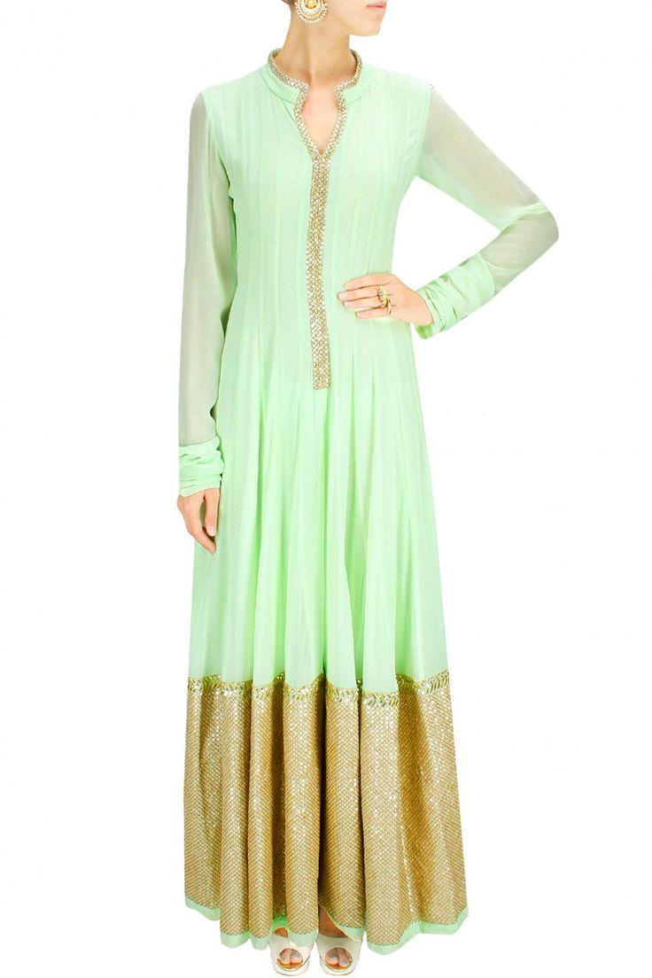 PRINCESS DIARIES : Mint green sequins embroidered lehenga set by Prathyusha Garimella. Shop now at www.perniaspopups... #traditional #designer #fashion #couture #shopnow #perniaspopupshop #happyshopping