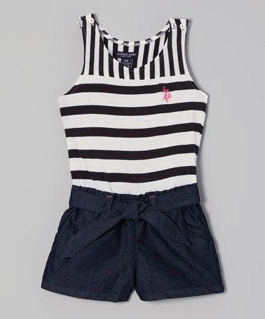 Look what I found on #zulily! White & Denim Stripe Button Romper - Toddler & Girls by U.S. Polo Assn. #zulilyfinds