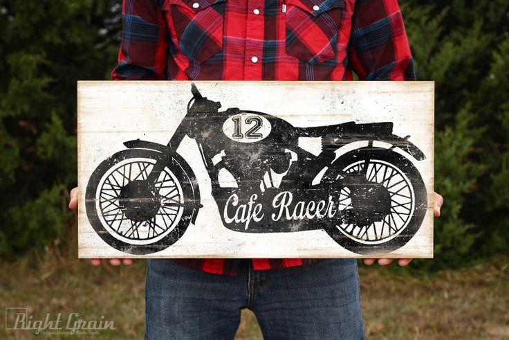 Vintage Cafe Racer Garage Art - Vintage Motorcycle Print in Custom Colors by RightGrain on Etsy https://www.etsy.com/listing/202108824/vintage-cafe-racer-garage-art-vintage