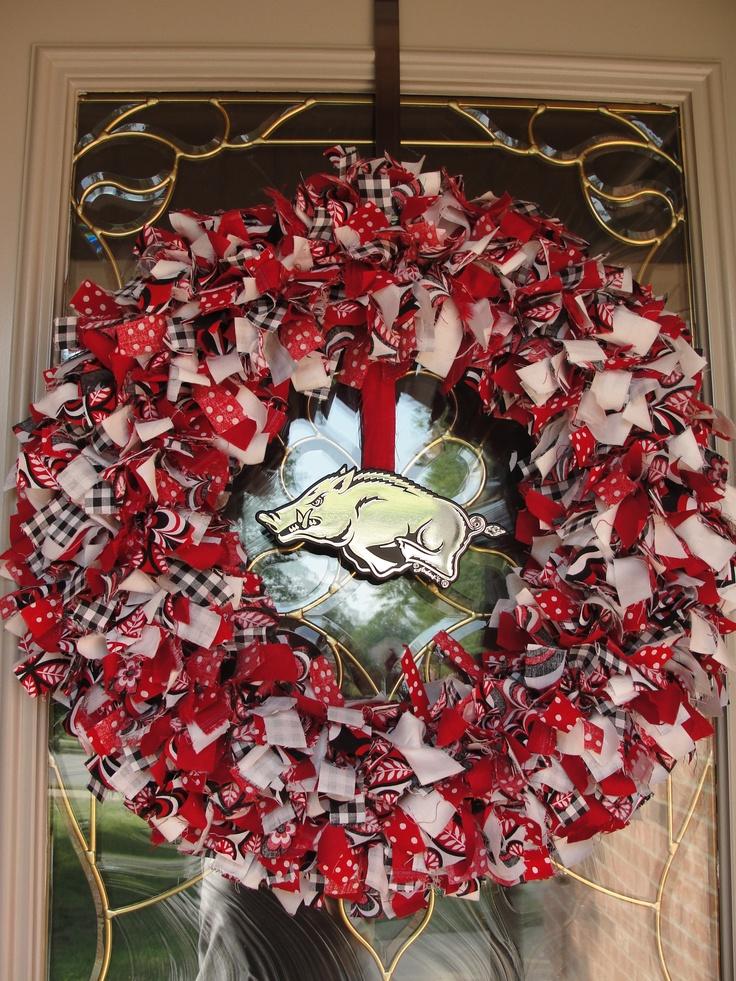 My first rag wreath! Go Hogs!!