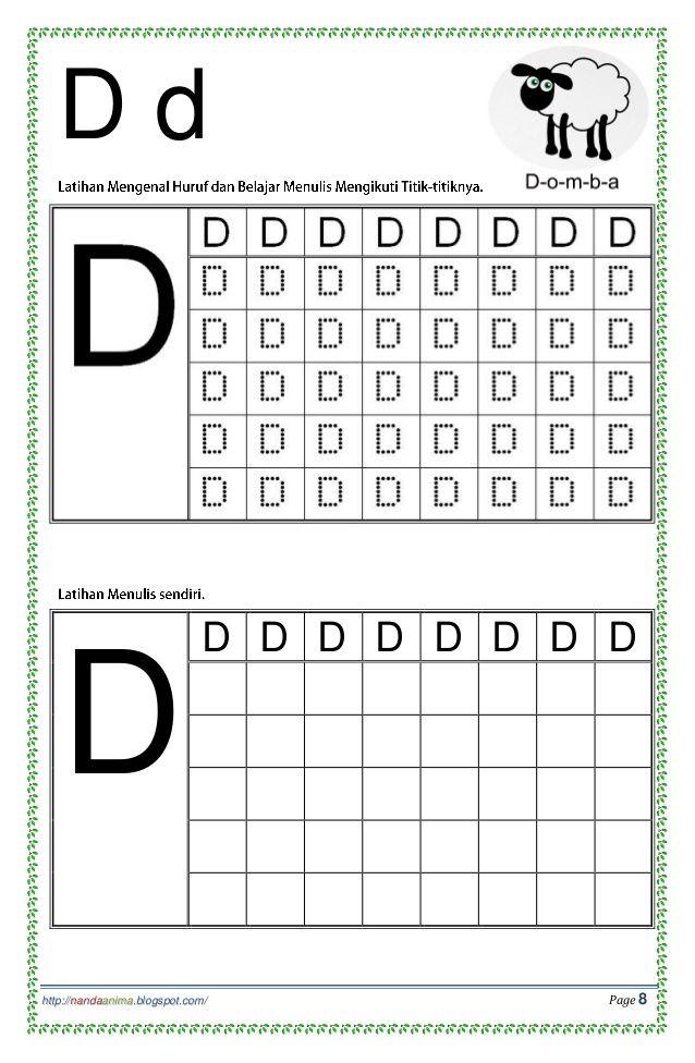 Belajar Mengenal Dan Menulis Huruf Abc Alphabet Worksheets Preschool Writing Practice Worksheets Kindergarten Reading Worksheets Titik d worksheets for kindergarten