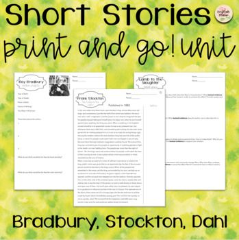 """This resource will lead your students through 3 famous short stories: """"The Pedestrian"""" by Ray Bradbury """"The Lady or the Tiger"""" by Frank Stockton """"Lamb to the Slaughter"""" by Roald Dahl Each story has the following resources: Author Profile Vocab Story formatted with annotations (see preview) Quiz Activity or"""