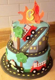 Fire Truck Ambulance Police Car Birthday Cake cakepins.com
