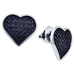 0.24ctw Black Diamond Heart Earrings