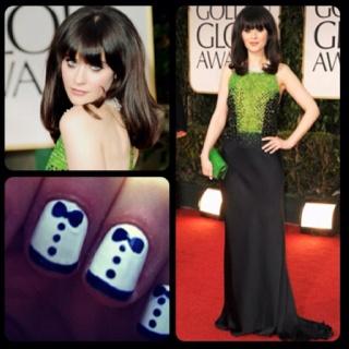 Zoey dechanel golden globes fashion beauty nail art