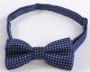 Boys Bowtie Navy and White Dots