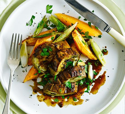 Roast thick slices of aubergine with miso, garlic and ginger, then ...
