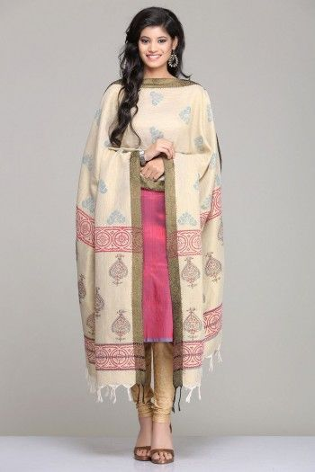 Elegant Pink & Blue Dual-Shaded Raw Silk Unstitched Suit With Beige Traditional Hand Block Printed Khadi Silk Dupatta & Kela Tussar Silk Salwar