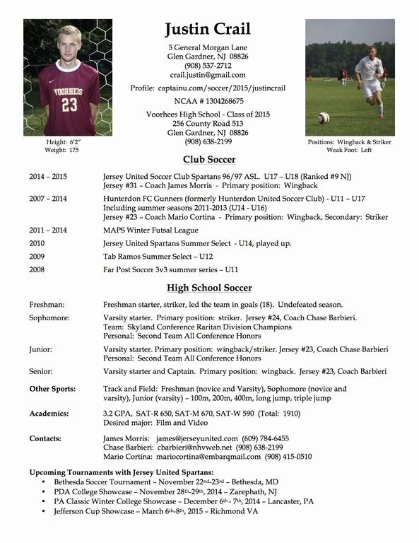 Sports Resume For Coaching Beautiful College Soccer Player Resume Soccer Soccer Coaching College Soccer Soccer Players