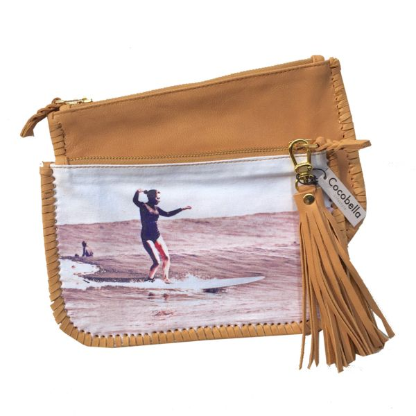 Chiara Yallingup  canvas & leather clutch