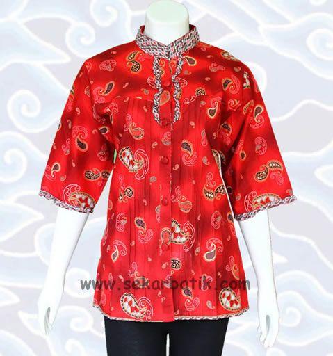 blus batik kerja warna merah dg kode BB23 bisa dilihat di katalog blouse wanita http://sekarbatik.com/blus-batik/ di toko online sekarbatik.com