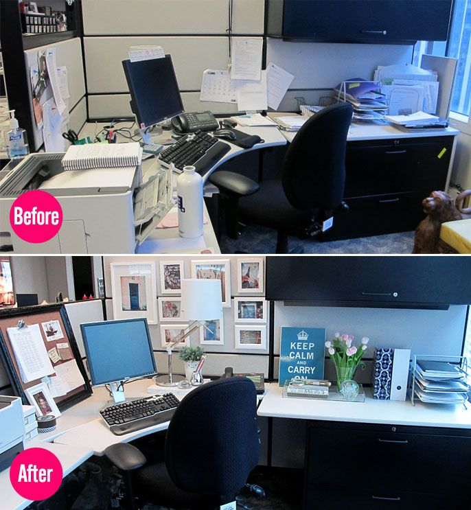What a cubicle could look like... Our makeover of Therese's corporate workspace.