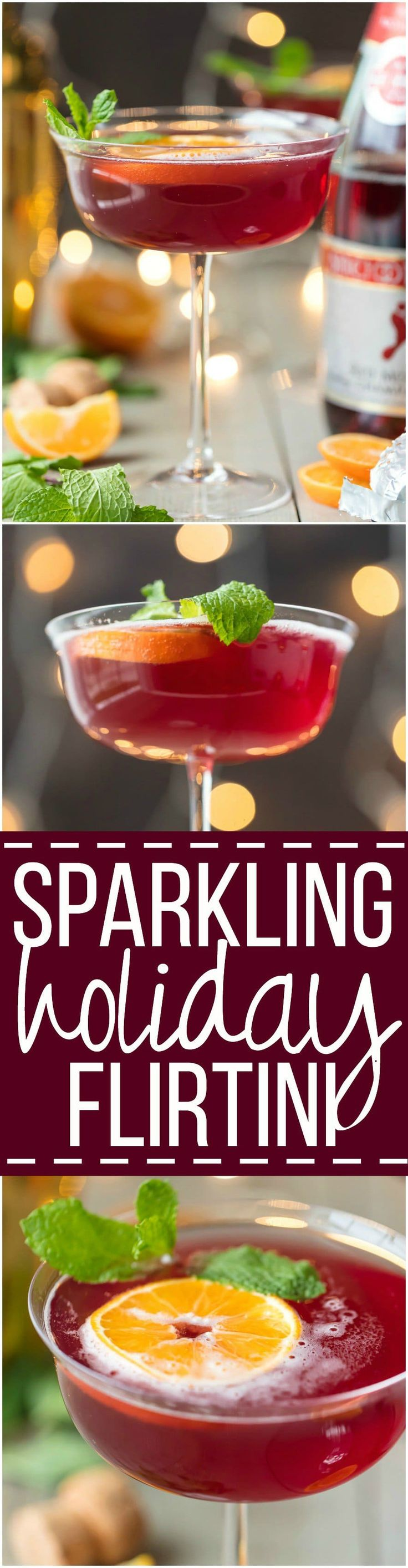 This SPARKLING HOLIDAY FLIRTINI is fun, pretty, and delicious! Cranberry and pineapple juice mixed with orange vodka and topped with red moscato champagne, what could be better or more festive for Christmas or New Years Eve!