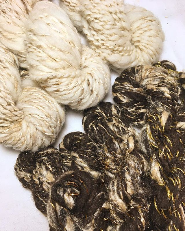 Sometimes Im a little overwhelmed by the things I get to make for people and send out. Loving this gorgeous bundle of handspun golden goodies for @imogen.di.sapia and her lovely weaving work.  _ _ _ _ _ #handspunyarn #handspinners #yarnporn #naturalcolour #britishwool #weaversofinstagram #igspinners #weaveweird #wemakeyarn #textileart #fibreart #fibresharetribe #handmadeisbetter #abmcrafty #modernmaker