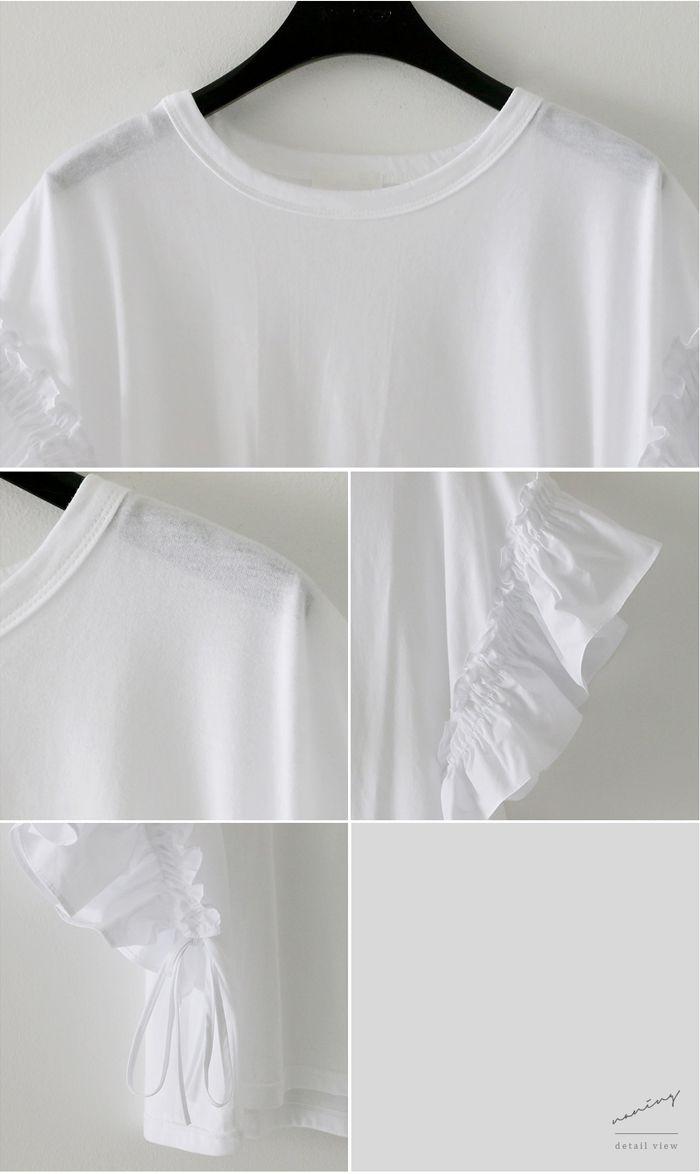 フリル袖 tシャツ レディース/袖フリルトップス フリルトップス/ゆるtシャツ フリルスリーブ/袖コンシャス 無地 tシャツ 5分袖
