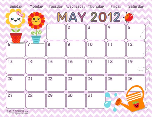 Free Version  May 2012 Calendar   Hello Cuteness