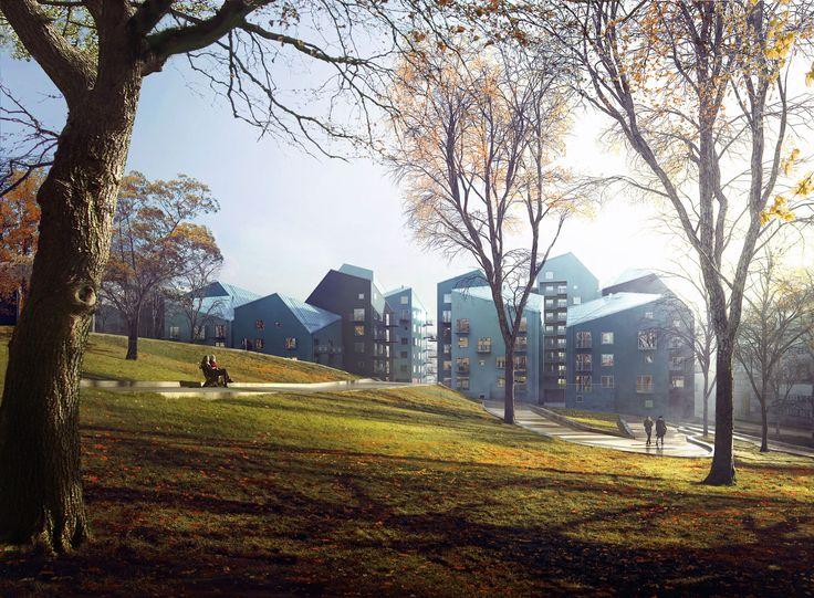 Hallonporten – De nya byggnaderna skapa tillsammans en vacker och lekfull helhet.