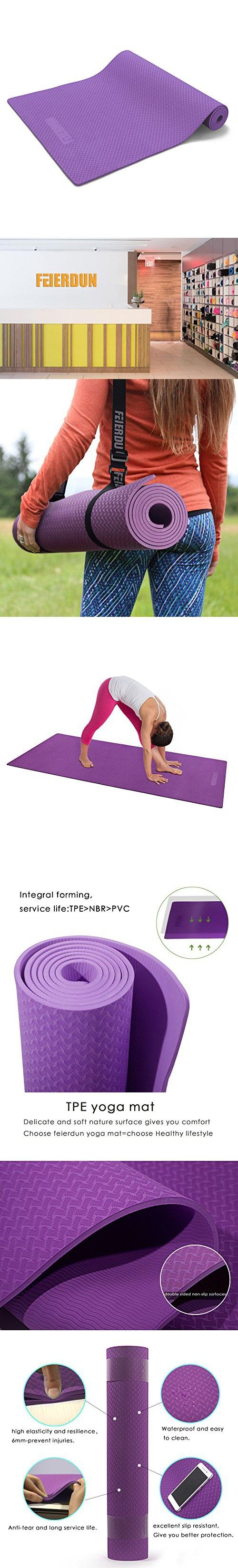 """Yoga Mat - 6mm TPE Anti-tear Non-Slip Reversible Exercise Mat for Pilates Workout Fitness with Carrying Strap(72""""x 24"""") (Purple)"""
