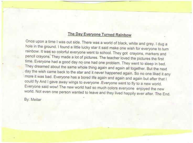 Meitar's creative story written at the Champlain School, grade 3.