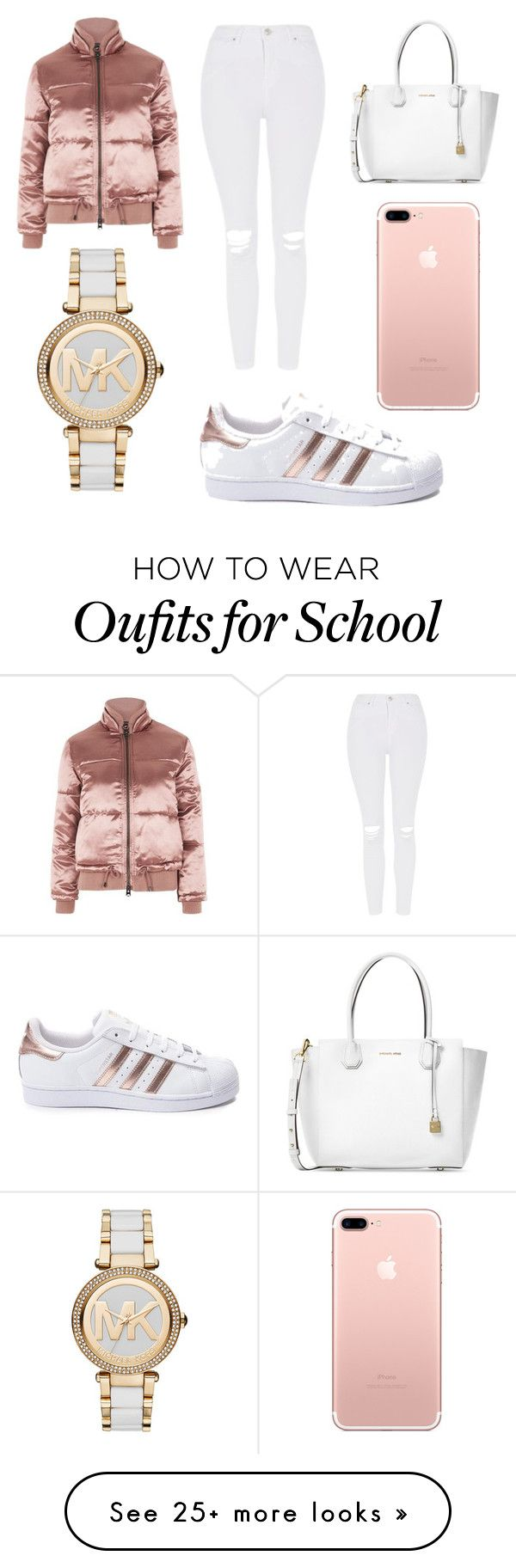 """school outfit "" by ashlehhfhbffg on Polyvore featuring Michael Kors, Topshop and adidas"