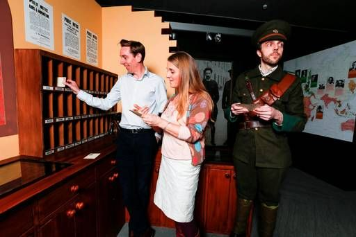 Pictured at the launch of '16 Letters at the Witness History Centre in the GPO was '16 Letters host Ryan Tubridy with Genevieve Harden who is interviewed on the show and GPO actor Aidan J Collins. Pictur: Conor McCabe Photography