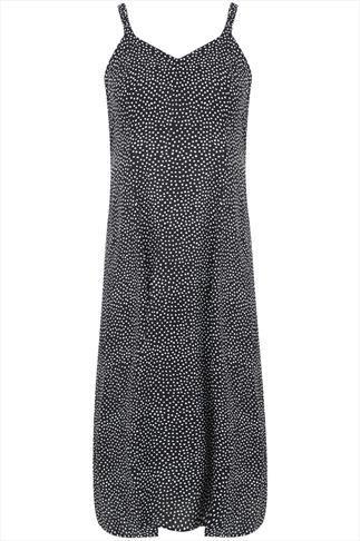 Black And White Polka Dot Sleeveless Sun Dress