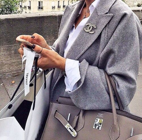 Grey Chanel, hermes Birkin