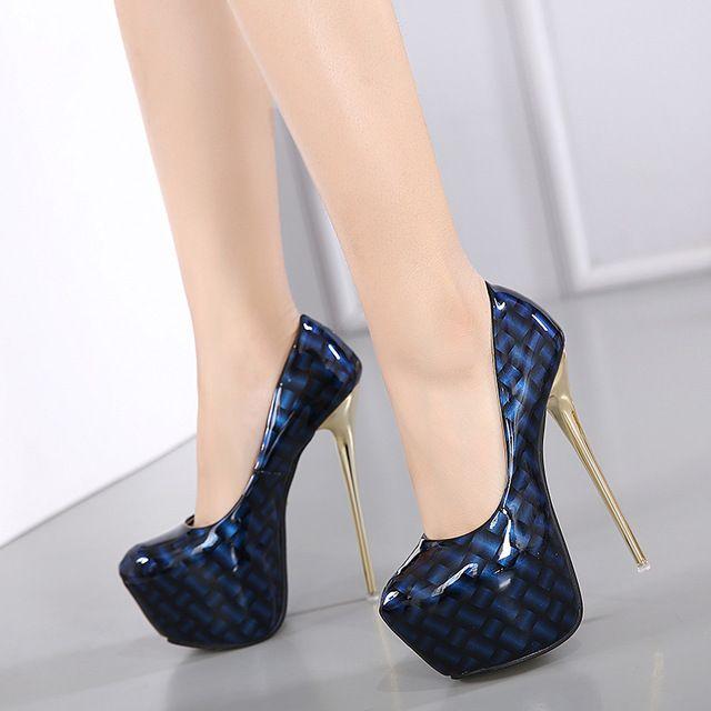 Sapatos de noiva senhoras Stiletto bombas de plataforma sapatos de casamento bombas de sapatos de festa plataforma saltos extrema salto alto bombas azul vermelho