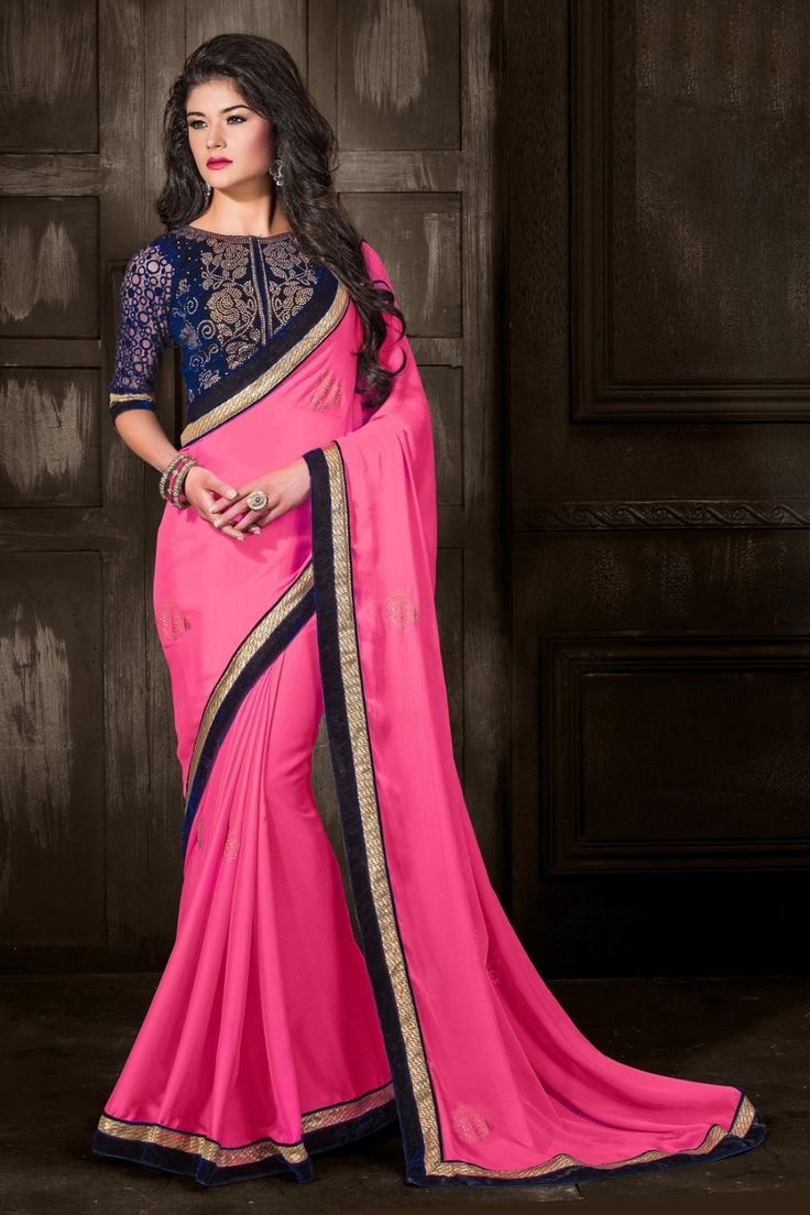Pink Bemberg and Chiffon Saree with Embroidered and Lace Work - Z2541P7113-16 #party #sarees @ http://zohraa.com/sarees/sari/party-wear.html #zohraa #onlineshop #womensfashion #womenswear #bollywood #look #diva #party #shopping #online #beautiful #salwar #kameez #beauty #glam #shoppingonline #styles #stylish #model #fashionista #women #lifestyle #girls #fashion
