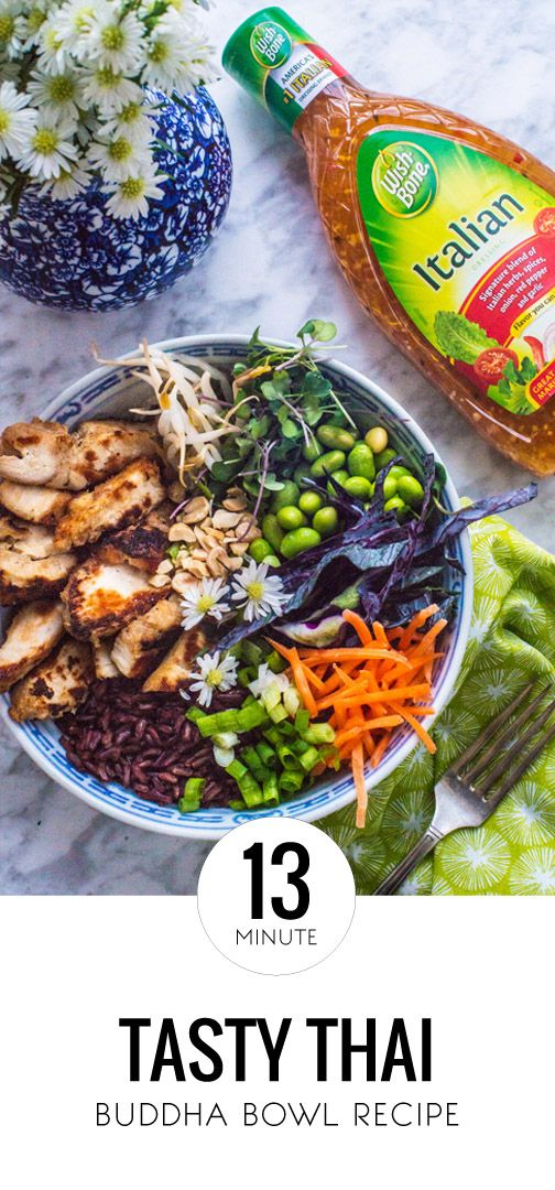 A Tasty Thai Buddha Bowl in just 13 minutes? It's almost too good to be true! Thanks to the delicious combination of Tyson Grilled & Ready Chicken Breast Strips, purple cabbage, shredded carrots, edamame, cilantro, Wish-Bone Italian Dressing, and chopped peanuts, this dinner recipe has flavor, crunch, and everything in between. Find all the ingredients you need to make this dish for your family at Kroger.