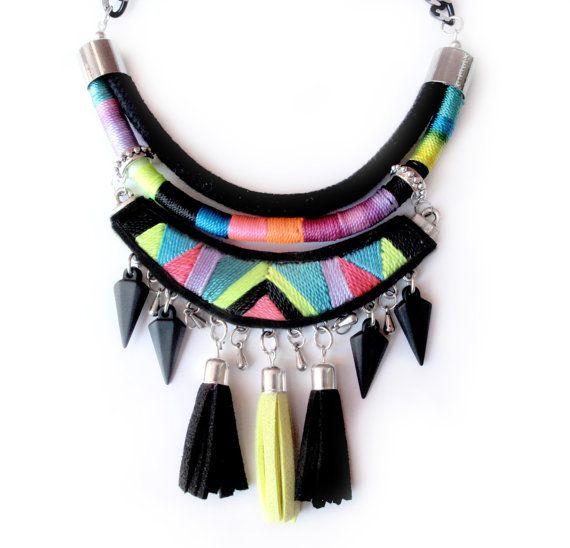 Tribal necklace geometric embroidered handmade by tashtashop