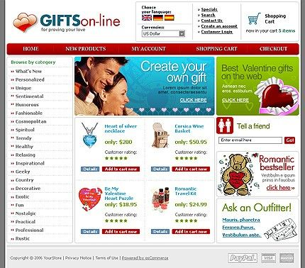 Gifts Store osCommerce Templates by Di