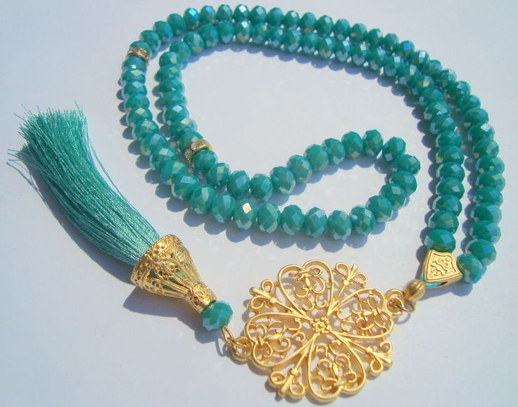GREEN 99 PCS CRYSTAL Misbaha  Islamic Prayer Beads tasbih MASBAHA Tasbeeh