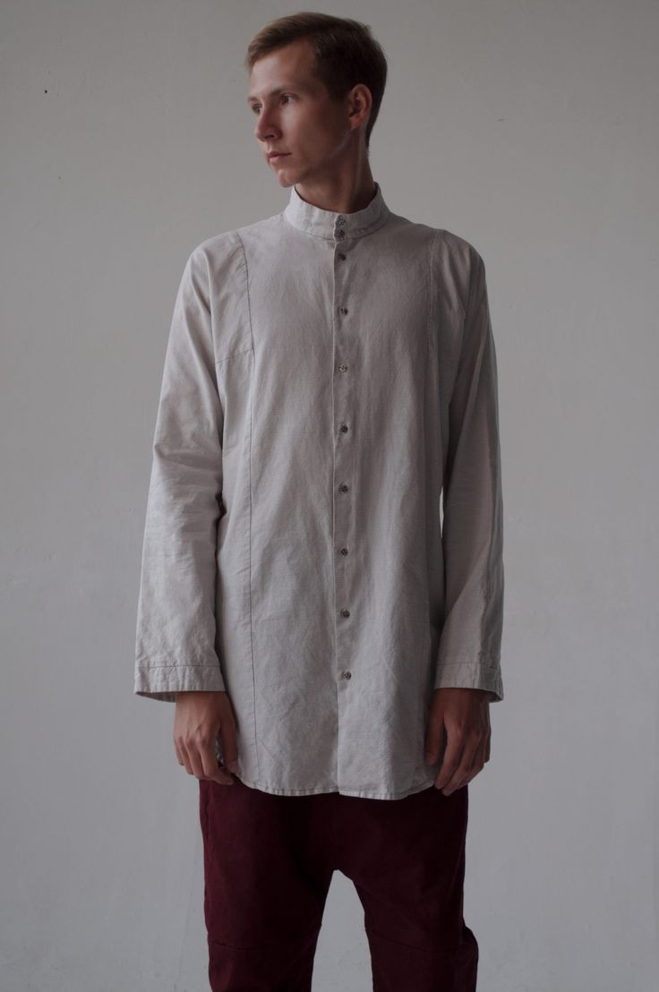 Nomad Goba – SHIRT ECCHYMOSIS BROWN STRIP – Free long shirt with gusset.