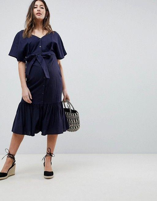 f05fa301916d2 ASOS Maternity | ASOS DESIGN Maternity linen button through pephem midi  dress