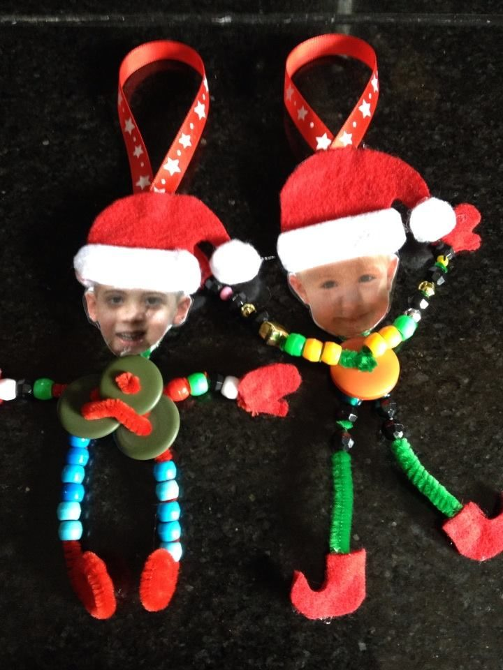 Elf Yourself ornaments, photo ornament, Christmas crafts for kids, Made with pipe cleaners, buttons, beads and felt.