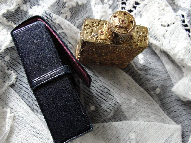 VERY RARE Schiaparelli SHOCKING Special Edition 1951 Christmas French Perfume Bottle With Leather Case Vanity Item
