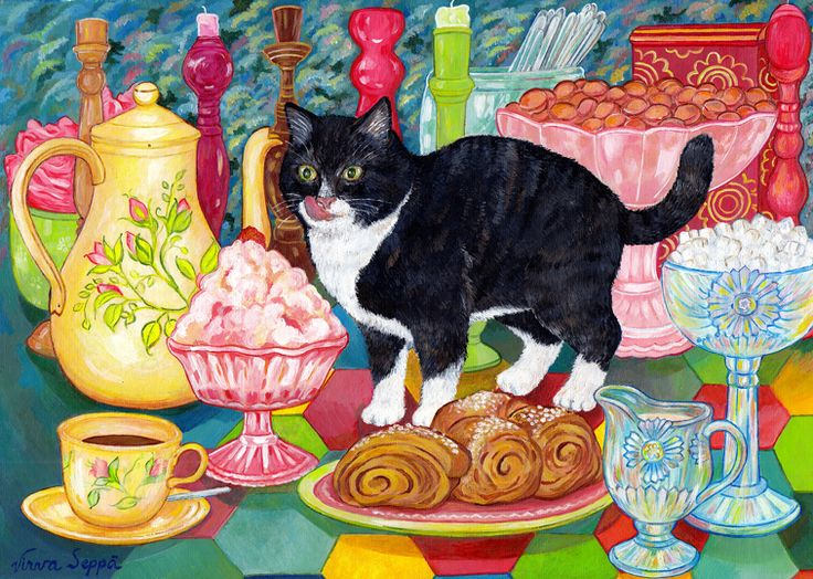Hoksotin | A free digital jigsaw puzzle of a cute cat and delicious treats / Ilmainen digitaalinen palapeli söpöstä kissasta ja herkuista