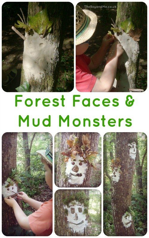 Outdoor arts and crafts Creating Wild Art: Forest Faces and Mud Monsters using woodland treasures.
